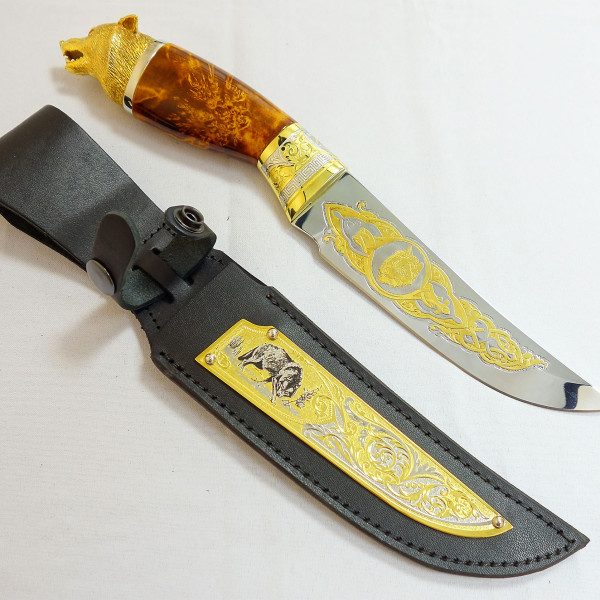 Нож с головой волка №1
