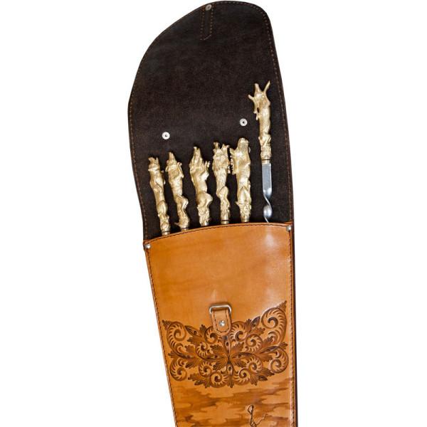 Шампура подарочные 6шт. вколчане изнатуральной кожи
