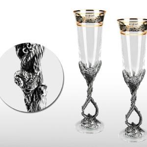 Набор свадебных фужеров для шампанского Виноградная лоза