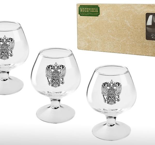 Подарочный набор бокалов для коньяка (бренди) Русь