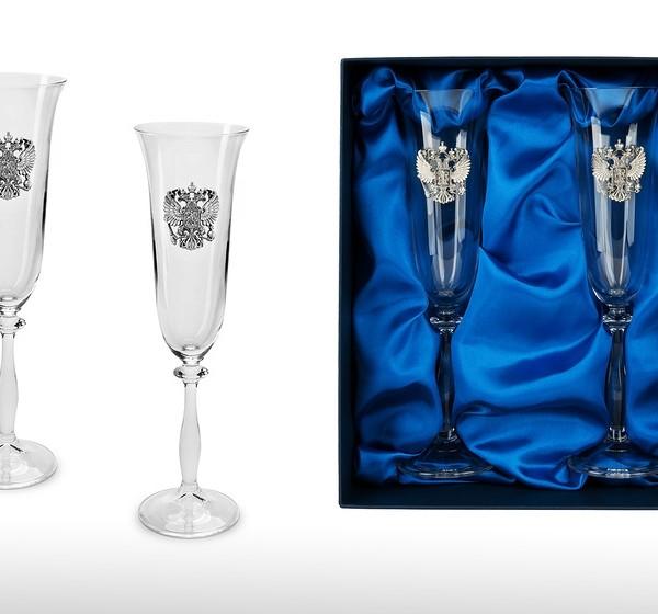Подарочный набор бокалов для шампанского, вина Державный