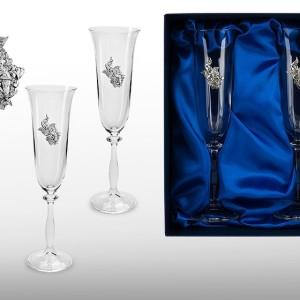 Подарочный набор бокалов для шампанского, вина Пришла пора, она влюбилась
