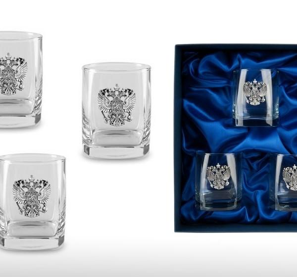 Подарочный набор дизайнерских стаканов для виски и рома Российский Стандарт
