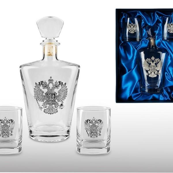 Подарочный набор для виски и рома с графином Россия